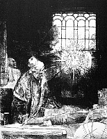 0012591 © Granger - Historical Picture ArchiveREMBRANDT: FAUST, 1652.   Doctor Johann Faust watching a magic disc in his study. Etching, 1652, by Rembrandt van Rijn.
