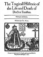 0012592 © Granger - Historical Picture ArchiveMARLOWE'S DOCTOR FAUSTUS.   Woodcut title page to the 1631 edition of Christopher Marlowe's 'The Tragicall Historie of the Life and Death of Doctor Faustus.'