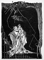 0012593 © Granger - Historical Picture ArchiveGOETHE: FAUST.   Illustration of the dungeon scene from Johann Goethe's Faust. Pen-and-ink drawing by Harry Clarke.