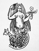 0012950 © Granger - Historical Picture ArchiveMORGAN LE FAY.   In the mermaid character of Morgan of the Black Rock (near Liverpool, England). Woodcut from an 18th century English chapbook.