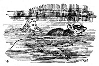 0015632 © Granger - Historical Picture ArchiveALICE IN WONDERLAND, 1865.  Alice swimming in the pool of her own tears with the Mouse. Illustration by Sir John Tenniel from the first edition of Lewis Carroll's 'Alice's Adventures in Wonderland,' 1865.