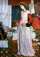 0026613 © Granger - Historical Picture ArchiveMORRIS: ISOLDE.   'La Belle Iseult.' Isolde in mourning following the exile of Tristan (formerly thought to be a representation of Queen Guinevere). Oil on canvas, 1858, by William Morris. RESTRICTED OUTSIDE US.
