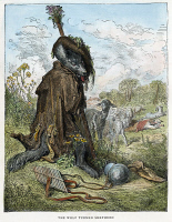 0027694 © Granger - Historical Picture ArchiveLA FONTAINE: WOLF.   'The Wolf Turned Shepherd.' Wood engraving after Gustave Doré for the 'Fables' of Jean de La Fontaine, c1870.