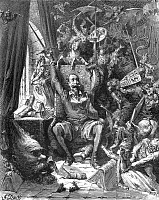 0033485 © Granger - Historical Picture ArchiveDON QUIXOTE IN HIS LIBRARY.   The Don in his study surrounded by the phantoms of his daydreams. Wood engraving after Gustave Doré's illustrations for Miguel de Cervantes' 'Don Quixote.'