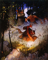 0042404 © Granger - Historical Picture ArchiveLAST OF THE MOHICANS, 1919.   The Fight in the Forest: illustration by N.C. Wyeth from the 1919 edition of 'The Last of the Mohicans' by James Fenimore Cooper.