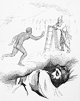 0043753 © Granger - Historical Picture ArchiveROBINSON CRUSOE.   Robinson Crusoe dreams of Friday's escape. Drawing by Grandville (1803-1847) after Daniel Defoe's book.