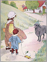 0043955 © Granger - Historical Picture ArchiveBAH BAH BLACK SHEEP, 1916.   Bah, bah black sheep. Drawing by Blanche Fisher Wright for a 1916 edition of 'Mother Goose' nursery rhymes.