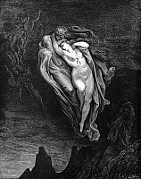 0044212 © Granger - Historical Picture ArchiveDANTE: THE INFERNO.   Paolo and Francesca, the latter bearing the mark of her mortal wound on her bosom (Canto V, lines 72-74). Wood engraving after Gustave Dore.