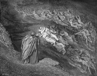 0045243 © Granger - Historical Picture ArchiveDANTE: INFERNO.   Paolo and Francesca (Canto V, lines 105-106). Wood engraving after Gustave Dore.