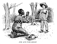 0045835 © Granger - Historical Picture ArchiveHUCKLEBERRY FINN, 1885.   Jim and the Ghost. Drawing by Edward Windsor Kemble for the 1885 American edition of Mark Twain's 'Huckleberry Finn.'