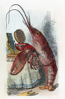 0047136 © Granger - Historical Picture ArchiveCARROLL: ALICE, 1865.   The Lobster declares, 'You have baked me too brown, I must sugar my hair.' After the design by Sir John Tenniel for the first edition of Lewis Carroll's 'Alice's Adventures in Wonderland,' 1865.