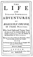 0050316 © Granger - Historical Picture ArchiveROBINSON CRUSOE   by Daniel Defoe: Title page of the first edition, London, 1719.