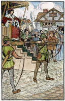 0054635 © Granger - Historical Picture ArchiveROBIN HOOD, 1914.   Robin Hood competing at Prince John's archery tournament. Illustration by Milo Winter for 'Robin Hood and His Merry Men,' by Maude Radford Warren, 1914.