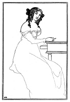 0058333 © Granger - Historical Picture ArchiveBEARDSLEY: BARGAINS.   Frontispiece. Drawing by Aubrey Vincent Beardsley for 'A Book of Bargains.'