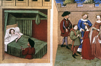 0059181 © Granger - Historical Picture ArchiveBOCCACCIO'S DECAMERON.   Pampinea's story from the 10th day of Giovanni Boccaccio's 'Decameron.' Manuscript illumination, Flemish, 1430-40.