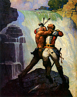 0066147 © Granger - Historical Picture ArchiveLAST OF THE MOHICANS, 1919.   The Battle at Glenn's Falls. Illustration by N.C. Wyeth from the 1919 edition of 'The Last of the Mohicans' by James Fenimore Cooper.