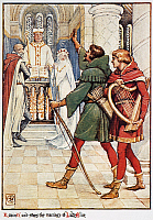 0066772 © Granger - Historical Picture ArchiveROBIN HOOD.   Robin Hood stops the marriage of Lady Alice. Illustration, 1912, by Walter Crane.