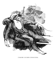 0068772 © Granger - Historical Picture ArchiveCHARLES DICKENS (1812-1870).   English novelist. 'Charles Dickens Exhausted.' Pen-and-ink drawing by Harry Furniss (1854-1925).