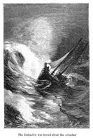 0072503 © Granger - Historical Picture ArchiveVERNE: AROUND THE WORLD.   'The Tankadère was tossed about like a feather'. Wood engraving after a drawing by Léon Benett from an 1873 edition of Jules Verne's 'Around the World in Eighty Days'.