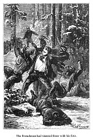0072504 © Granger - Historical Picture ArchiveVERNE: AROUND THE WORLD.   'The Frenchman had stunned three with his fists'. Wood engraving after a drawing by Léon Benett from an 1873 edition of Jules Verne's 'Around the World in Eighty Days'.