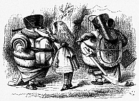 0100172 © Granger - Historical Picture ArchiveCARROLL: LOOKING GLASS.   Alice helps Tweedledum and Tweedledee prepare for battle. Wood engraving after Sir John Tenniel for the first edition of Lewis Carroll's 'Through the Looking Glass,' 1872.