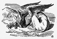 0100173 © Granger - Historical Picture ArchiveCARROLL: ALICE, 1865.   The Queen leads Alice to the Gryphon, who is lying fast asleep in the sun. Wood engraving after Sir John Tenniel for the first edition of Lewis Carroll's 'Alice's Adventures in Wonderland,' 1865.