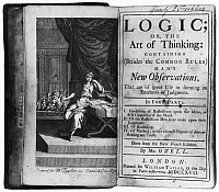 0109834 © Granger - Historical Picture ArchiveARNAULD & NICOLE: LOGIC.   Frontispiece and title page of a 1717 edition of 'Logic; or, the Art of Thinking,' by Antoine Arnaud and Pierre Nicole, donated to the Library Company of Philadelphia by Benjamin Franklin, whose signature appears in the top right.