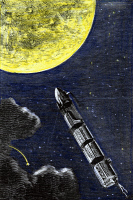 0432402 © Granger - Historical Picture ArchiveVERNE: FROM EARTH TO MOON.   Colored engraving from a 19th-century edition of Jules Verne's 'From the Earth to the Moon.'
