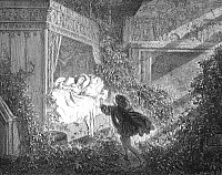 0017399 © Granger - Historical Picture ArchivePERRAULT: SLEEPING BEAUTY.   The prince discovering Sleeping Beauty. Wood engraving after Gustave Dore from an 1867 edition of the fairy tale by Charles Perrault (1628-1703).