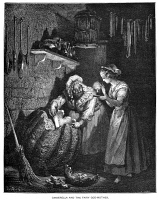 0045624 © Granger - Historical Picture ArchivePERRAULT: CINDERELLA, 1867.   Cinderella and her Fairy Godmother. Wood engraving after Gustave Doré from an 1867 edition of the fairy tale by Charles Perrault (1628-1703).