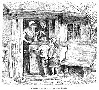 0045631 © Granger - Historical Picture ArchiveGRIMM: HANSEL AND GRETEL.   'Hansel and Gretel return home.' Wood engraving, 19th century, for the fairy tale by the Brothers Grimm.