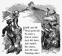0096464 © Granger - Historical Picture ArchiveJACK AND JILL.   Wood engraving, late-19th century, from an American edition of 'Mother Goose's Melodies.'