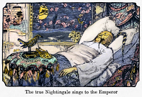 0106625 © Granger - Historical Picture ArchiveANDERSEN: THE NIGHTINGALE.   'The true nightingale sings to the Emperor.' Drawing by Henry J. Ford for an 1894 edition of the fairy tale 'The Nightingale,' by Hans Christian Andersen.