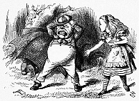 0118854 © Granger - Historical Picture ArchiveCARROLL: LOOKING GLASS.   Tweedledum throwing a tantrum over a broken rattle while Tweedledee tries to hide in an umbrella. Wood engraving after Sir John Tenniel for the first edition of Lewis Carroll's 'Through the Looking Glass,' 1872.