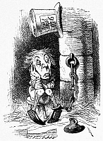 0118858 © Granger - Historical Picture ArchiveCARROLL: LOOKING GLASS.   The King's Messenger sitting in a jail cell for a crime he has not yet committed. Wood engraving after Sir John Tenniel for the first edition of Lewis Carroll's 'Through the Looking Glass,' 1872.