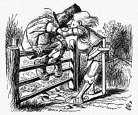 0119198 © Granger - Historical Picture ArchiveCARROLL: LOOKING GLASS.   The White Knight shaking an old man sitting on a fence, a scene from a ballad told by the White Knight. Wood engraving after Sir John Tenniel for the first edition of Lewis Carroll's 'Through the Looking Glass,' 1872.