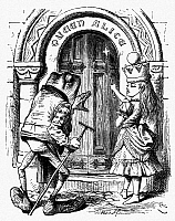 0119201 © Granger - Historical Picture ArchiveCARROLL: LOOKING GLASS.   Queen Alice conversing with an old frog. Wood engraving after Sir John Tenniel for the first edition of Lewis Carroll's 'Through the Looking Glass,' 1872.