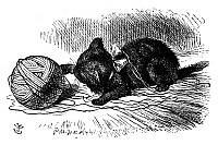 0119206 © Granger - Historical Picture ArchiveCARROLL: LOOKING GLASS.   Alice's kitten, Dinah, playing with a ball of yarn. Wood engraving after Sir John Tenniel for the first edition of Lewis Carroll's 'Through the Looking Glass,' 1872.