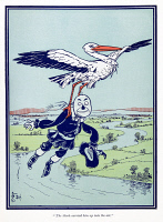 0408791 © Granger - Historical Picture ArchiveWIZARD OF OZ, 1900.   'The stork carried him up into the air.' Illustration by W.W. Denslow for the first edition of 'The Wonderful Wizard of Oz' by L. Frank Baum, 1900.
