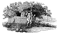 0077859 © Granger - Historical Picture ArchiveMAN STUCK IN ANIMAL TRAP.   Wood engraving, early 19th century, by Thomas Bewick (1753-1828).
