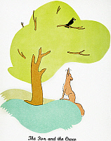 0011074 © Granger - Historical Picture ArchiveAESOP: FOX & CROW.  'The Fox and the Crow.' Watercolor by Christopher Sanders depicting Aesop's fable.