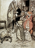 0040689 © Granger - Historical Picture ArchiveAESOP: TORTOISE & THE HARE.   'The Tortoise and the Hare.' Illustration by Arthur Rackham (1867-1939) for Aesop's fable.