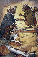 0040773 © Granger - Historical Picture ArchiveAESOP: TOWN AND COUNTRY.   Aesop's fable of 'The Town Mouse and the Country Mouse.' Watercolor by Charles James Folkard.
