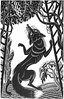 0042927 © Granger - Historical Picture ArchiveAESOP: FOX & GRAPES.   'The Fox and the Grapes.' Woodcut by Boris Artzybasheff (1899-1965).