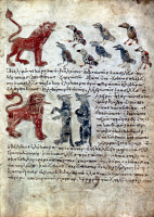 0051112 © Granger - Historical Picture ArchiveBIRDS COMPLAIN TO LION.   Birds complain to the Lion about the wolves who are warned by the Lion: manuscript illumination from xth c. Aesop.