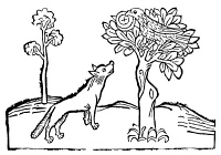 0053896 © Granger - Historical Picture ArchiveAESOP: FOX AND CROW.   Woodcut from 'Les Subtiles Fables d'Esope,' Lyon, 1484.
