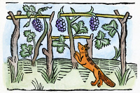 0071469 © Granger - Historical Picture ArchiveAESOP: THE FOX & THE GRAPES.   Woodcut from William Caxton's