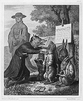 0096445 © Granger - Historical Picture ArchiveREYNARD THE FOX, 1846.   Steel engraving, German, 1846, after Wilhelm von Kaulbach, for an edition of Johann Wolfgang von Goethe's adaptation of the medieval epic 'Reynard the Fox.'