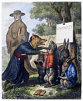 0103767 © Granger - Historical Picture ArchiveREYNARD THE FOX, 1846.   Steel engraving, German, 1846, after Wilhelm von Kaulbach, for an edition of Johann Wolfgang von Goethe's adaptation of the medieval epic 'Reynard the Fox.'
