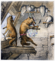 0103768 © Granger - Historical Picture ArchiveREYNARD THE FOX, 1846.   Steel engraving, German, 1846, after Wilhelm von Kaulbach, for an edition of Johann Wolfgang von Goethe's adaptation of the medieval epic 'Reynard the Fox.'